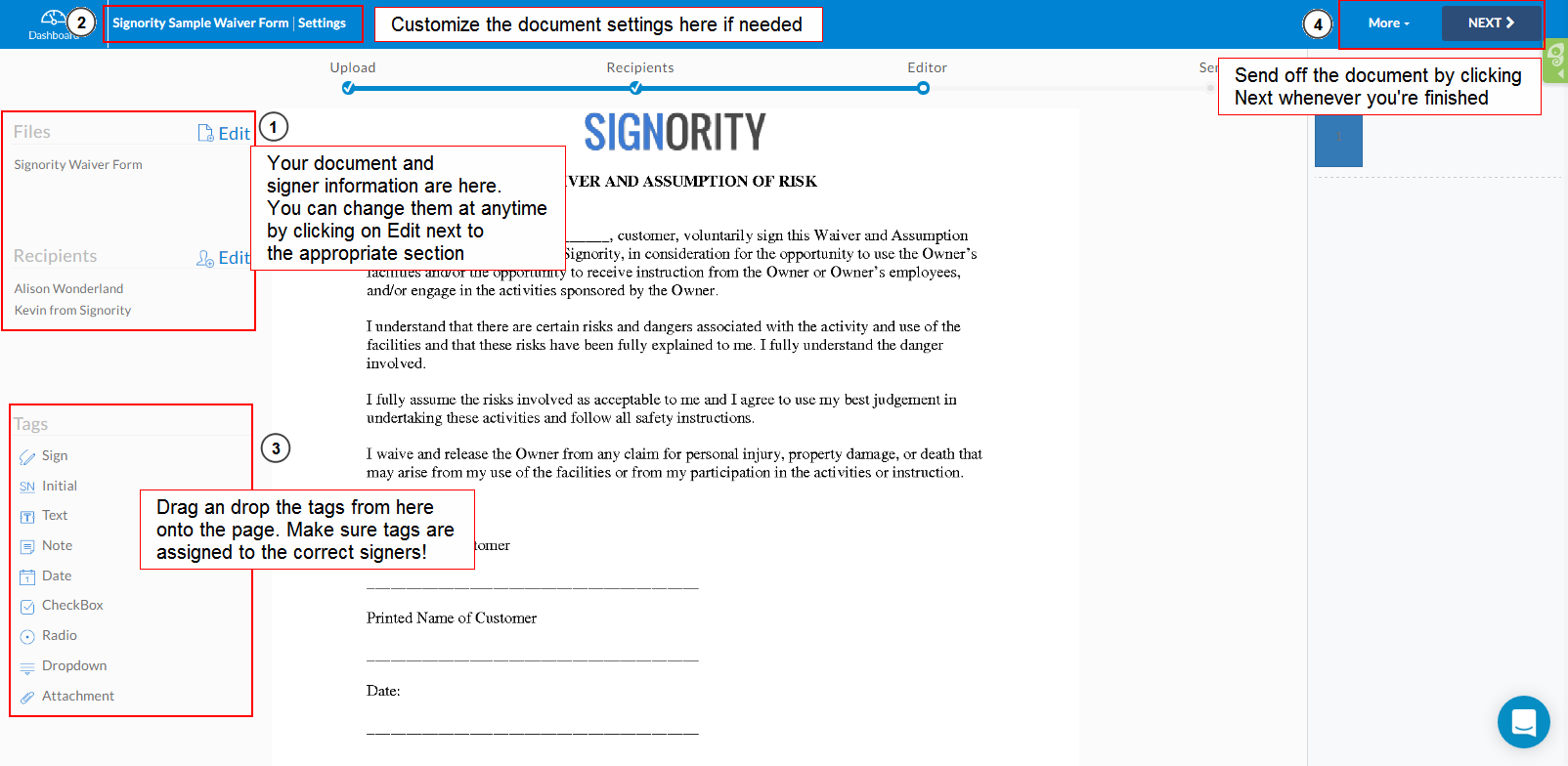 Create Electronic Signature Documents for Others | Signority ...