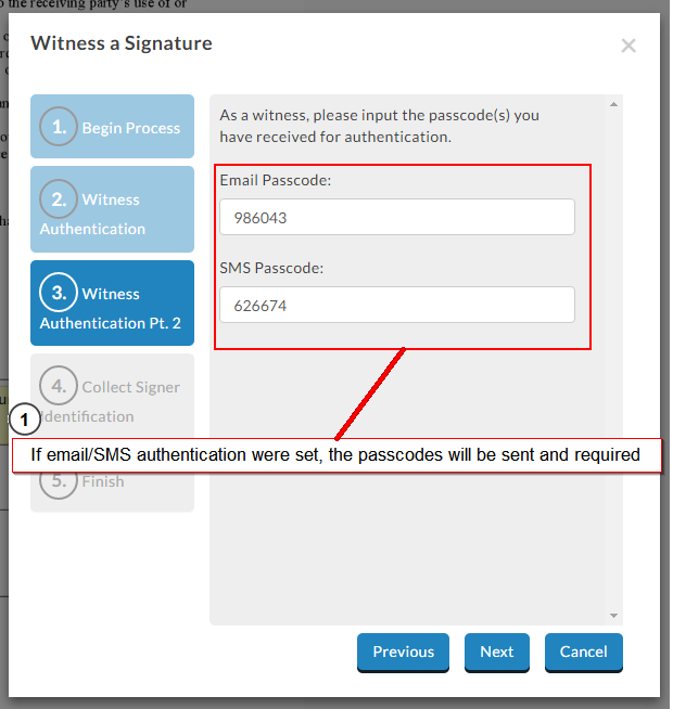 witness signing authentication factors
