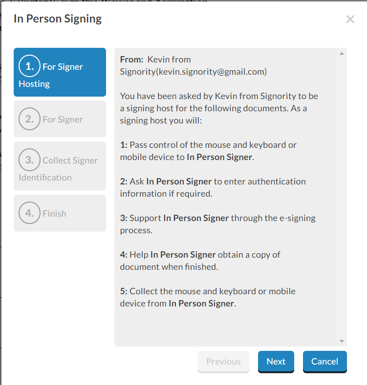 In-Person Signing Authentication Process