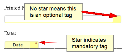 the difference between optional and mandatory tags when you sign documents online