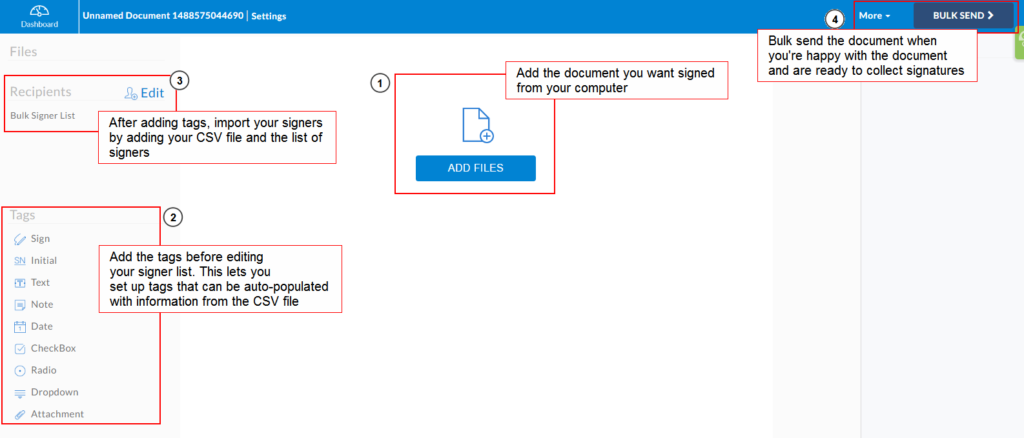 Bulk send documents for signing - the editor page with annotated descriptions