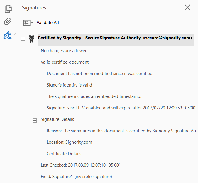 benefits of digital signatures - signature validation