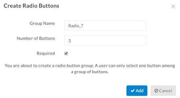 radio button tags settings