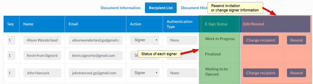 document status and checking the status of signers