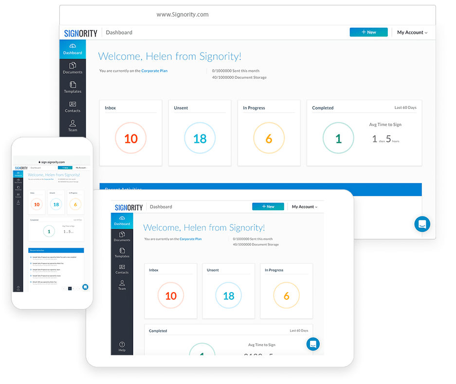 Signority home dashboard