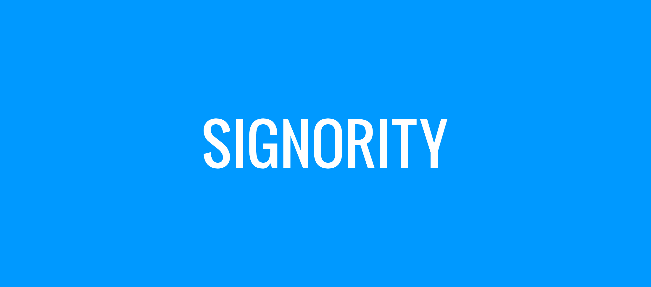 Signority Logo White on Blue background