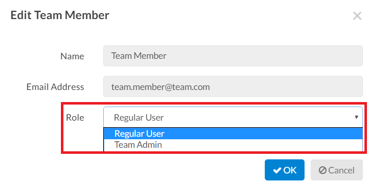 Edit Roles for Team Members
