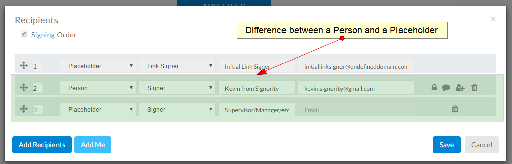 the difference between a signer and a placeholder