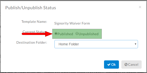 change the status of the template link to be published