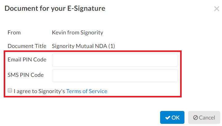 Signature Authentication PIN Codes required