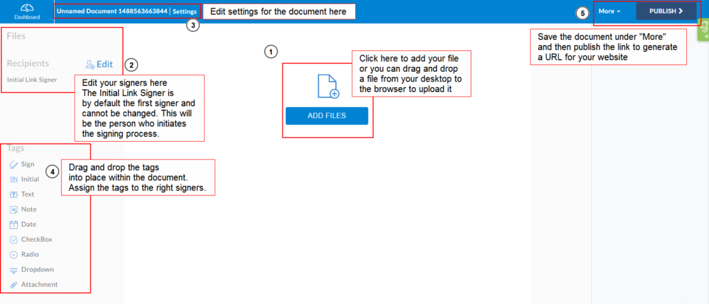 Template link editor page with annotations