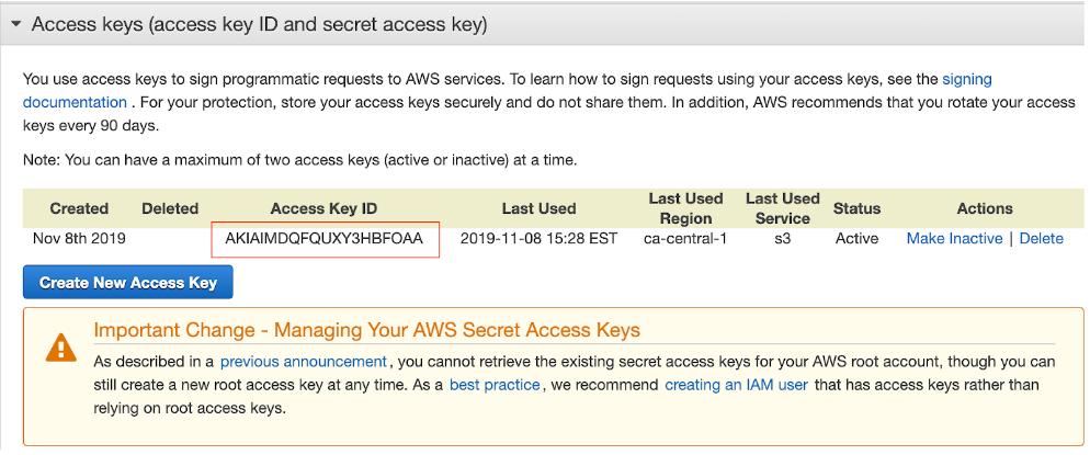 AWS Create Access Keys